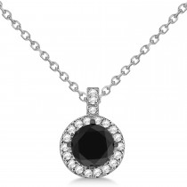 Black Diamond & Diamond Halo Pendant Necklace Round  14k White Gold (1.00ct)