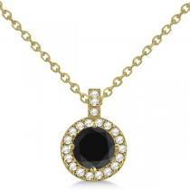 Black Diamond & Diamond Halo Pendant Necklace Round  14k Yellow Gold (1.00ct)