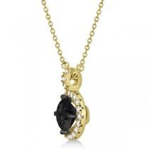 Black Diamond & Diamond Halo Pendant Necklace Round  14k Yellow Gold (1.00ct)