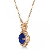 Blue Sapphire & Diamond Halo Pendant Necklace 14k Rose Gold (1.07ct)