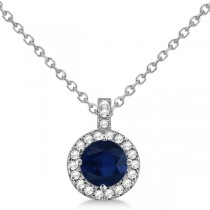 Blue Sapphire & Diamond Halo Pendant Necklace 14k White Gold (1.07ct)