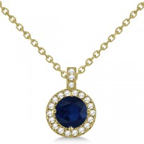 Blue Sapphire & Diamond Halo Pendant Necklace 14k Yellow Gold (1.07ct)