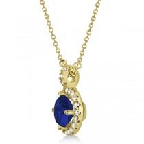 Blue Sapphire & Diamond Halo Pendant Necklace 14k Yellow Gold (1.07ct)