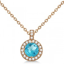 Blue Topaz & Diamond Halo Pendant Necklace 14k Rose Gold (0.98ct)