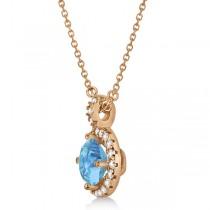 Blue Topaz & Diamond Halo Pendant Necklace 14k Rose Gold (0.98ct)