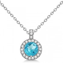 Blue Topaz & Diamond Halo Pendant Necklace 14k White Gold (0.98ct)