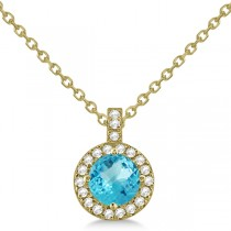Blue Topaz & Diamond Halo Pendant Necklace 14k Yellow Gold (0.98ct)