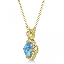 Blue Topaz & Diamond Halo Pendant Necklace 14k Yellow Gold (0.98ct)
