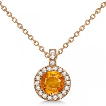 Citrine & Diamond Halo Pendant Necklace 14k Rose Gold (0.77ct)