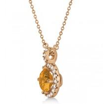 Citrine & Diamond Halo Pendant Necklace 14k Rose Gold (0.77ct)