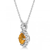 Citrine & Diamond Halo Pendant Necklace 14k White Gold (0.77ct)