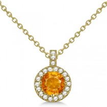 Citrine & Diamond Halo Pendant Necklace 14k Yellow Gold (0.77ct)
