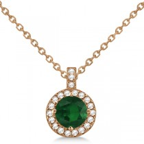 Emerald & Diamond Halo Pendant Necklace 14k Rose Gold (0.90ct)