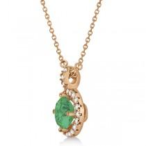 Emerald & Diamond Halo Pendant Necklace 14k Rose Gold (0.90ct)