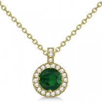 Emerald & Diamond Halo Pendant Necklace 14k Yellow Gold (0.90ct)