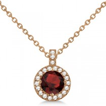 Garnet & Diamond Halo Pendant Necklace 14k Rose Gold (1.01ct)