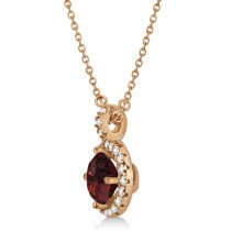 Garnet & Diamond Halo Pendant Necklace 14k Rose Gold (1.01ct)