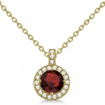 Garnet & Diamond Halo Pendant Necklace 14k Yellow Gold (1.01ct)
