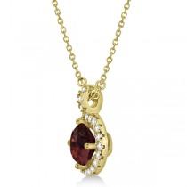 Garnet & Diamond Halo Pendant Necklace 14k Yellow Gold (1.01ct)