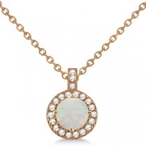 Opal & Diamond Halo Pendant Necklace 14k Rose Gold (0.68ct)