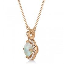 Opal & Diamond Halo Pendant Necklace 14k Rose Gold (0.68ct)