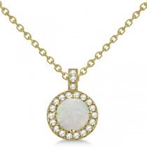 Opal & Diamond Halo Pendant Necklace 14k Yellow Gold (0.68ct)