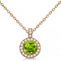 Peridot & Diamond Halo Pendant Necklace 14k Rose Gold (0.87ct)