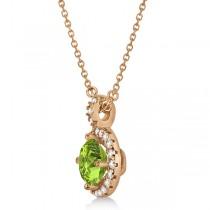 Peridot & Diamond Halo Pendant Necklace 14k Rose Gold (0.87ct)