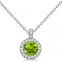 Peridot & Diamond Halo Pendant Necklace 14k White Gold (0.87ct)