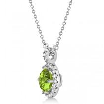 Peridot & Diamond Halo Pendant Necklace 14k White Gold (0.87ct)
