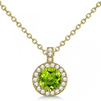 Peridot & Diamond Halo Pendant Necklace 14k Yellow Gold (0.87ct)