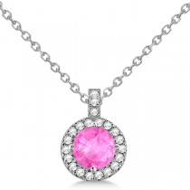 Pink Sapphire & Diamond Halo Pendant Necklace 14k White Gold (1.07ct)