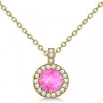 Pink Sapphire & Diamond Halo Pendant Necklace 14k Yellow Gold (1.07ct)