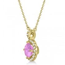 Pink Sapphire & Diamond Halo Pendant Necklace 14k Yellow Gold (1.07ct)