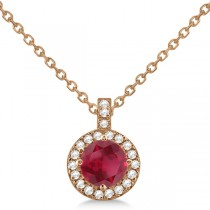 Ruby & Diamond Halo Pendant Necklace 14k Rose Gold (1.07ct)