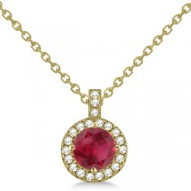 Ruby & Diamond Halo Pendant Necklace 14k Yellow Gold (1.07ct)