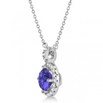 Tanzanite & Diamond Halo Pendant Necklace 14k White Gold (1.07ct)