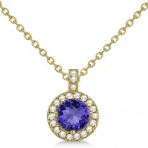 Tanzanite & Diamond Halo Pendant Necklace 14k Yellow Gold (1.07ct)