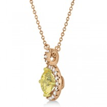 Yellow Diamond & Diamond Halo Pendant Necklace Round  14k Rose Gold (1.00ct)