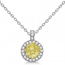 Yellow Diamond & Diamond Halo Pendant Necklace Round  14k White Gold (1.00ct)