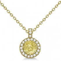 Yellow Diamond & Diamond Halo Pendant Necklace Round  14k Yellow Gold (1.00ct)