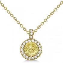 Yellow Diamond & Diamond Halo Pendant Necklace Round  14k Yellow Gold (1.00ct)