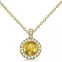 Yellow Sapphire & Diamond Halo Pendant Necklace 14k Yellow Gold (1.07ct)