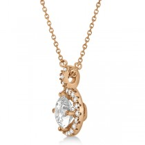 Diamond Halo Pendant Necklace Round Solitaire 14k Rose Gold (2.50ct)