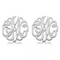Personalized Monogram Post-Back Stud Earrings in Sterling Silver
