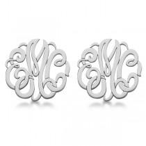 Personalized Monogram Post-Back Stud Earrings in 14k White Gold