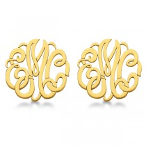 Personalized Monogram Post-Back Stud Earrings in 14k Yellow Gold