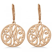 Customized Initial Circle Monogram Earrings in 14k Rose Gold