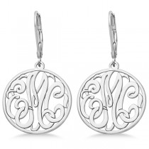 Customized Initial Circle Monogram Earrings in Sterling Silver