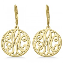 Customized Initial Circle Monogram Earrings in 14k Yellow Gold